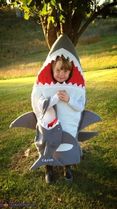 Sharon: My grandson Casen is wearing the costume. He called me and said Grammy will you make me a shark costume for Halloween, and of course I responded with a yes. Toddler Shark Costume, Diy Shark Costume, Shark Costumes, Boy Costumes, Costume Ideas, Shark Halloween Costume, Toddler Halloween Costumes, Halloween Kids, Animal Costumes For Boys