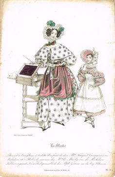 Bonnet à l'anglaise et toilette d'enfant; Robes de jasons; Tablier en gros de Tours: Indispensable - La Mode - gravé d'après Gavarni par Nargeot planche 164