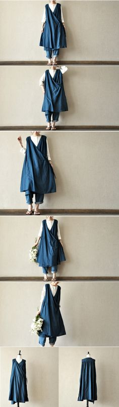 blue cotton dress maxi dress casual loose women long clothes dress sundress Summer clothes tunic dress By Fantasylinen