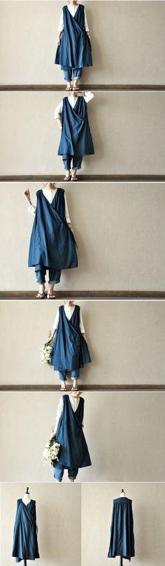 blue cotton dress maxi dress casual loose women long clothes dress sundress Summer clothes tunic dress By Fantasylinen