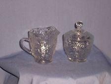 Princess House Crystal Creamer/Sugar Bowl - Fantasia Pattern - $9