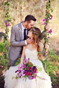 Beautiful bouquet, swing decorated with flowers, and the bride wearing a flower crown.