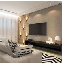 Wall Ideas Living Room 80 Amazing Living Room Tv Wall Decor Ideas and Remodel Room Design, Living Room Theaters, House Interior, Living Room Decor, Luxury Living Room, Interior, Living Room Design Modern, Living Room Tv Unit, Living Room Tv Wall