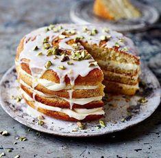 Lemon and pistachio layer cake - Jamie Oliver (Jamie Oliver Recipes Desserts) Almond Recipes, Baking Recipes, Cake Recipes, Dessert Recipes, Cupcakes, Cupcake Cakes, Lemon Layer Cakes, Gateaux Cake, Let Them Eat Cake