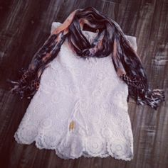 #Spring #sunshine better hurry up! We're tired of this gloomy weather! Come #warmup and #shop #SocietyFemme #lace #romper and #tiedye #scarf #outfit #style #fashion