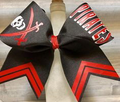 Pirate Cheer Bow Pirates High School Prep Competition Team Customize it! You can choose a different color ribbon and even different color decal options. Request a custom order Order. Discounts for team orders! This bow is made with grosgrain ribbon. All of our bows are quality