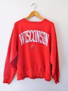 Wisconsin Badgers Sweatshirt // Classic Wisconsin Sweatshirt // Red and White by GreenBayGal on Etsy