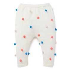 100% Cotton Pant. Knitted pant with elasticated waistband. Features multicoloured applique bobbles. Regular fitting silhouette. Available in Rose Pink.