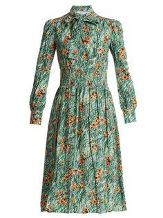 Poppy-print silk-crepe dress