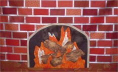 """""""Fireplace Façade"""" quilt pattern at Sew Many Visions.  This pattern makes a delightful mock-up of a fireplace.  The logs are created with wood-grained fabric."""