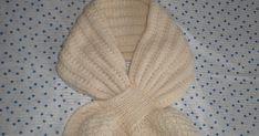 """L'hiver arrivant en force, j'ai décidé d'essayer ce modèle d'écharpe """"feuille"""" avec passant. Pour qu'elle soit bien chaude, j'ai tricoté le..."""
