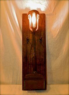 Industrial Style Machine Age Wall Sconce, Cast Iron, Reclaimed Wood with Storage, Steampunk.