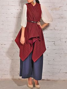 Scarlet Wool Silk Shrug