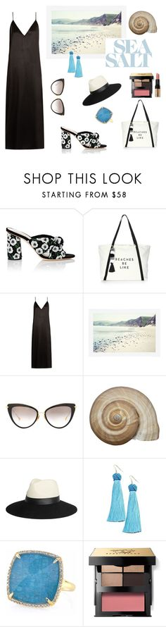 """Summer Sea Breeze"" by scolab ❤ liked on Polyvore featuring Loeffler Randall, Milly, Raey, Pottery Barn, Dita, Lanvin, Vanessa Mooney, Anne Sisteron and Bobbi Brown Cosmetics"