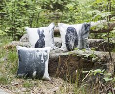 Fauna Cushion Covers - Bear, Owl & Rabbit   Gorgeous Finnish animal figures decorate Fauna pillow cases designed by Lasse Kovanen. Cushion Covers, Living Room Decor, Pillow Cases, Rabbit, Owl, Throw Pillows, Bear, Animals, Design