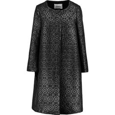 Issa Percy oversized jacquard coat (€435) ❤ liked on Polyvore featuring outerwear, coats, black, oversized coat, issa, zip coat and jacquard coat