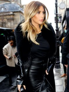 Ombré Blonde Hair | Kim, leather and fur