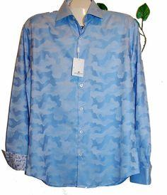 Bugatchi Uomo Men's Blue White Floral Cotton Blouse Shirt Sz L NEW Shaped Fit #BugatchiUomo #ButtonFront