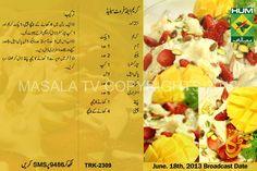 Cream and Fruit Salad Urdu Recipe Masala Tv by Rida Aftab | 2015 Pakistani Dresses Fashion, Urdu Hair Beauty Tips, Mehndi Designs, Zubaida Tariq Totkay, Recipes