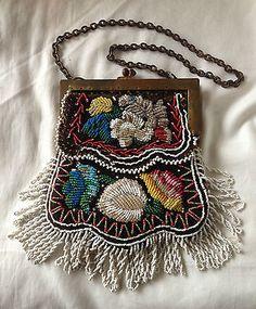 Iroquois beaded Flat Bag, 19th century.