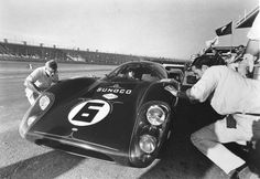 Mark Donohue comes in for a pit stop during the 1969 Daytona 24 Hours. He and Chuck Parsons would take the Lola-Chevrolet T70 Mk3B to victory, the first for Chevrolet in an international sports car endurance race.