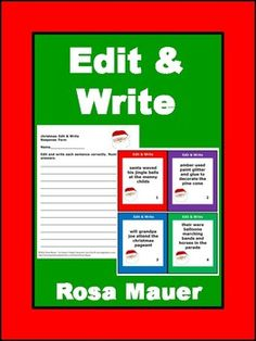 Students may edit and write these Christmas sentences. Text is provided in task card and worksheet formats. A response form for students and answers for the teacher are provided. Download the free sample so you know what to expect.Buy this set as part of a bundle:Language Arts Task Cards and Worksheets Growing Bundle.You might also like these products:Christmas Task Cards and Book Units at Rosa Mauer's Store.Follow me to receive notice when FREE and paid products are added to my store.Visit…