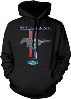 Mustang Logo Ford Symbol Mens Sweatshirt, Officially Licensed Ford Mustang Horse Logo Mens Hooded Pullover Sweater $24.95