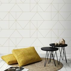 Vliesbehang geo creme goud (dessin - Apocalypse Now And Then Modern Wallpaper, Wall Wallpaper, Office Wallpaper, Bedroom Makeover Before And After, Guest Bedroom Decor, Retro Home, Rustic Interiors, Cool Walls, Interior Design Living Room