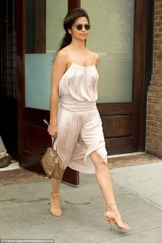 Stunning: Camila Alves, 34, looked summertime glam as she left the Greenwich Hotel in New York City on Friday