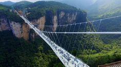 Glass-floor suspension bridge