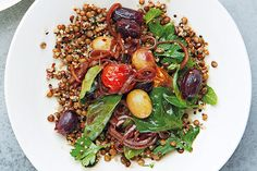Puy lentils, quinoa, pomegranate-roast grapes and tomatoes, chilli, mint and basil recipe Lentils And Quinoa, Quinoa Salad, Basil Recipes, Salad Recipes, How To Make Salad, Main Meals, Cherry Tomatoes, Pomegranate, Side Dishes