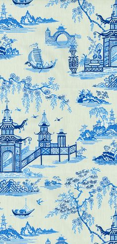 Home Decor Print Fabric- Waverly Peaceful Temple Porcelain $30/yd