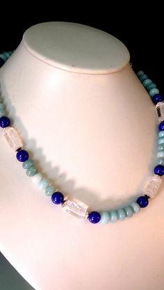 Total angesagte UNISEX Halskette, Lapislazuli, Bergkristall, Amazonit, Metallteile nickelfrei versilbert.  Preis: 46,00 EUR