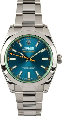Manufacturer: Rolex Model: Milgauss 116400V Serial/Year: Random - 2011 or Newer Grade: (What's This?) II Gender: Men's Features: Automatic 3131 movement, scratch-resistant, anniversary green sapphire crystal, waterproof screw-down crown Case: Stainless steel w/ smooth bezel (40mm), inner reflector ring engraved w/ serial number Dial: Blue w/ luminescent hour markers; orange markers on the 3, 6 & 9 o'clock Bracelet: Stainless Steel O...