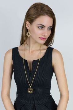 Paris Dreams and matching earrings in vermeil---a striking combination, sure to attract many compliments.
