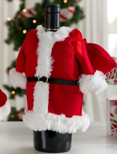 32ac5df6e0414 Santa Suit with Toy Bag Wine Bottle Cover Cool Presents