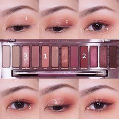 Korean makeup ideas: Makeup artists depend on pink shades to distract from troub. - Korean makeup ideas: Makeup artists depend on pink shades to distract from trouble spots on the fac - Korean Makeup Tips, Korean Makeup Look, Korean Makeup Tutorials, Asian Eye Makeup, Pink Eye Makeup, Eye Makeup Steps, Cute Makeup, Simple Makeup, Eyeshadow Makeup