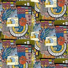 retro sew love fabric by scrummy on Spoonflower - custom fabric