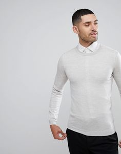 ASOS Muscle Fit Merino Wool Sweater In Light Gray - Gray