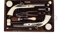 Cased set of Lepage duelling pistols with elephant ivory stocks