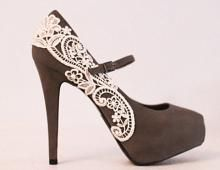 Gray Platform Pumps with Venise Lace Size 8 by LaPlumeEthere on Wanelo, I think i will just up grade a pair at home ;)