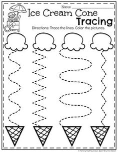 Preschool Tracing Worksheets in an Ice Cream Theme Preschool Learning Activities, Free Preschool, Preschool Curriculum, Preschool Crafts, Summer Preschool Themes, Vocabulary Activities, Spanish Activities, Teaching Spanish, Summer Activities For Preschoolers