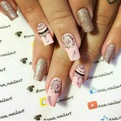 Uñas Cute Acrylic Nails, Fun Nails, Feather Nail Art, Nail Drawing, Mandala Nails, Bridal Nail Art, Nail Tattoo, Gelish Nails, Short Nail Designs
