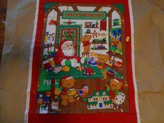 Advent Calendar Fabric Panel Santa Workshop Beary Merry Christmas Vintage 80s #VIPCranston