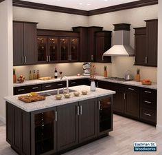 Dark Brown Kitchen Cabinets, Minimalist Kitchen Cabinets, Wooden Kitchen Cabinets, Brown Kitchens, Kitchen Cabinet Design, Kitchen Interior, Kitchen Furniture, Wood Furniture, Wooden Kitchens