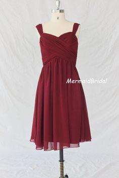 Cheap Burgundy bridesmaid dress, Tea length bridesmaid dress, wedding party dress. $86.99, via Etsy.