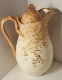 ANTIQUE LIMOGES FRANCE HAND PAINTED CHOCOLATE / COFFEE / TEA POT, GOLD ENCRUSTED