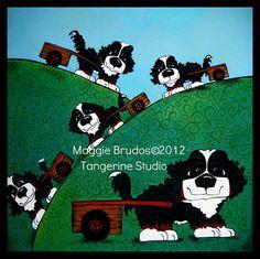 Convoy art Whimsical dog ART drft cart agility  by tangerinestudio, $85.00