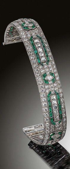 Art Deco Emerald & Diamond Bracelet #finejewelry
