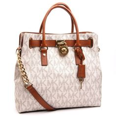 Authentic Michael Kors Tan and Cream Hamilton Handbag Tote - $265.00